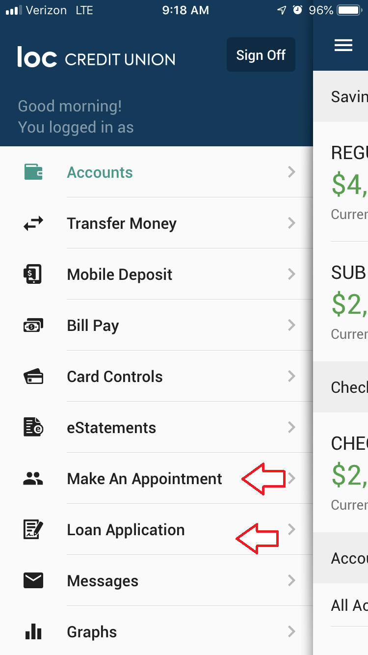New Make an Appointment and Loan Application Options